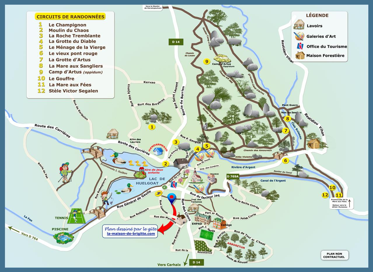 carte détaillée des monts d arrée Plan et circuits de randonnées de Huelgoat
